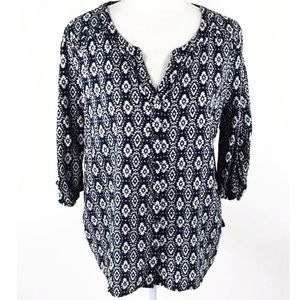 UO Skies Are Blue Navy IKAT top pattern blouse